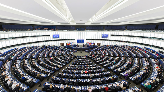 The chamber of the European Parliament in Strasbourg, France