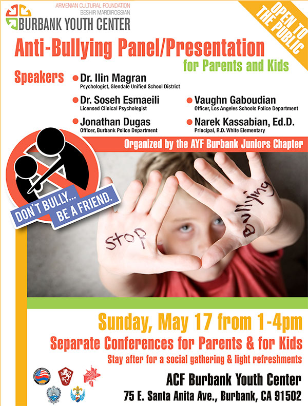 The Burbank AYF Juniors Chapter will host a workshop on bullying and how to prevent it