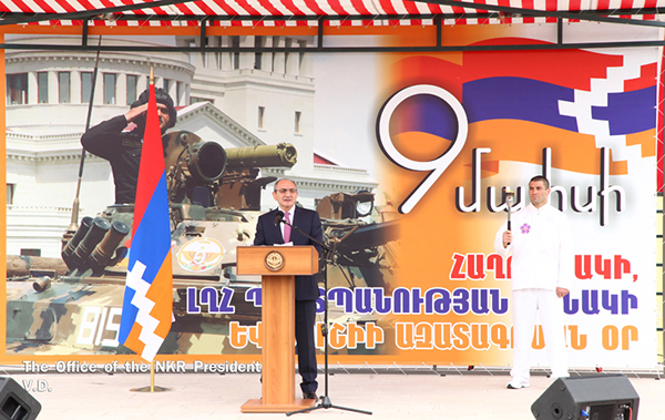 Artsakh's President Bako Sahakian speaks during a torch lighting ceremony in Shoushi for the 6th Pan-Armenian Games. May 8, 2015. (Photo: official publication)