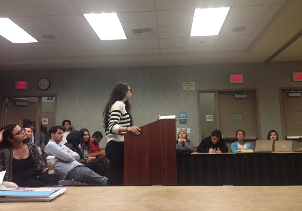 UCI student Kristine Jermakian speaks to the UC Irvine student government in support of a resolution calling for divestment from Turkey