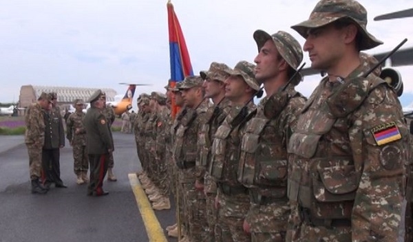 Armenian rapid reaction troops receive a farewell before heading to Tajikistan for military exercises.