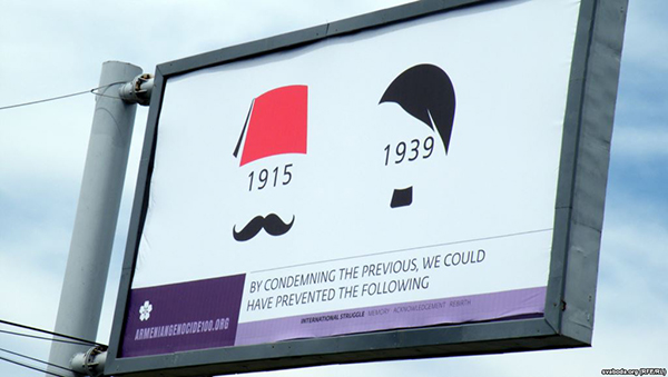 A billboard in Yerevan marks the centennial of the Armenian Genocide
