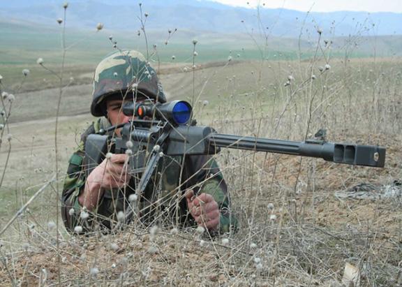A Karabakh soldier at the border with Azerbaijan border