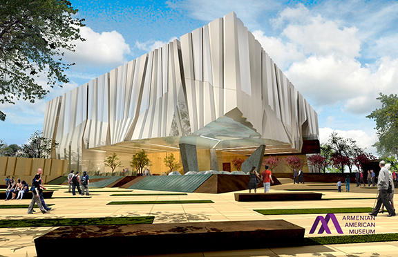 An architect's rendering of the museum exterior