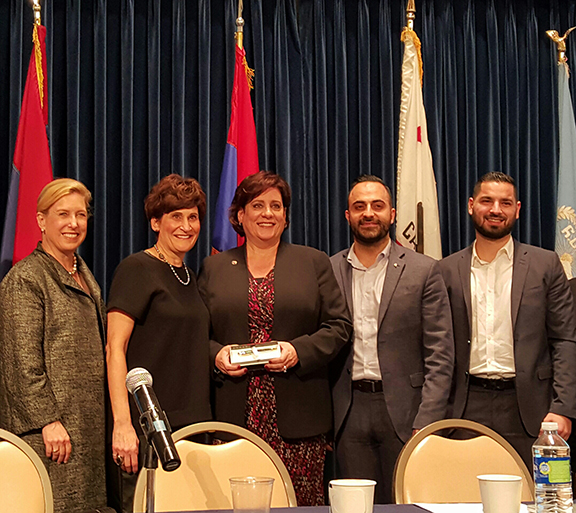 From left, Wendy Greuel, Chairperson Rebecca Berberian, Nora Hovsepian, Vache Thomassian, and Caspar Jivalagian