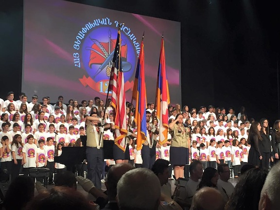 The AYF Juinor Choir performed revolutionary songs at the beginning of the ARF 125th Anniversary Celebration Sunday