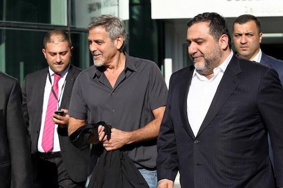 George Clooney arrives at Yerevan Zvartnots Airport