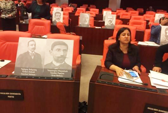 Photos of Ottoman Armenian parliament members rested on the seats of the Turkish National Assembly
