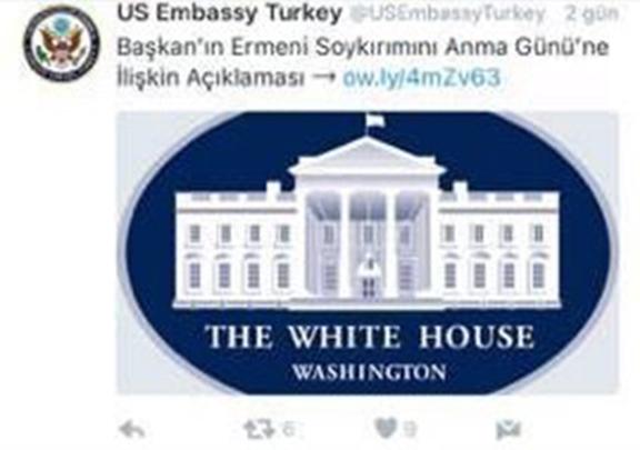 A screenshot of the Ankara's US Embassy Twitter post