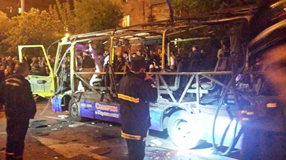 A bus explosion in Yerevan leaves 2 dead and many injured