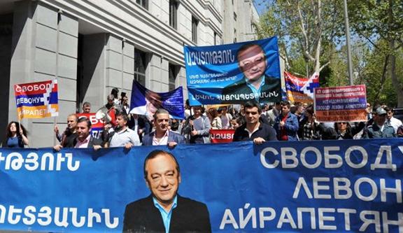 Levon Hayrapetyan supporters in Stepanakert