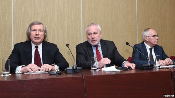 Co-chairs of the OSCE Minsk Group James Warlick, Igor Popov, and Pierre Andrieuat a news conference in Yerevan