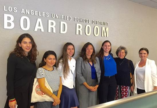 Board Member Moníca Ratliff is flanked by guests, from left, ANCA-WR Government Affairs Director Tereza Yerimyan, ANCA-WR Intern Lusine Aslanyan, ANCA- WR Events Coordinator Lori Sinanian, ANCA-WR Intern Nayiri Partamian, ANCA-WR Education Committee Member Sarine Boyadjian and ANCA-WR Education Committee Member Dr. Kay Mouradian for the resolution commemorating the Armenian Genocide of 1915.