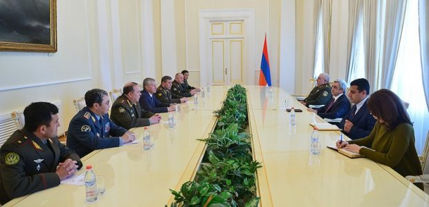 CSTO member states from Russia, Belarus, Kazakhstan, Kyrgyzstan and Tajikistan meeting with President Serzh Sargsyan in Armenia. (Photo: ArmRadio)