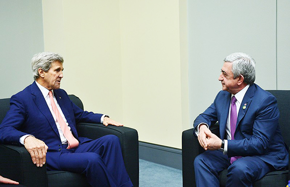 President Serzh Sarkisian with Secretary of State John Kerry during a recent meeting in Washington