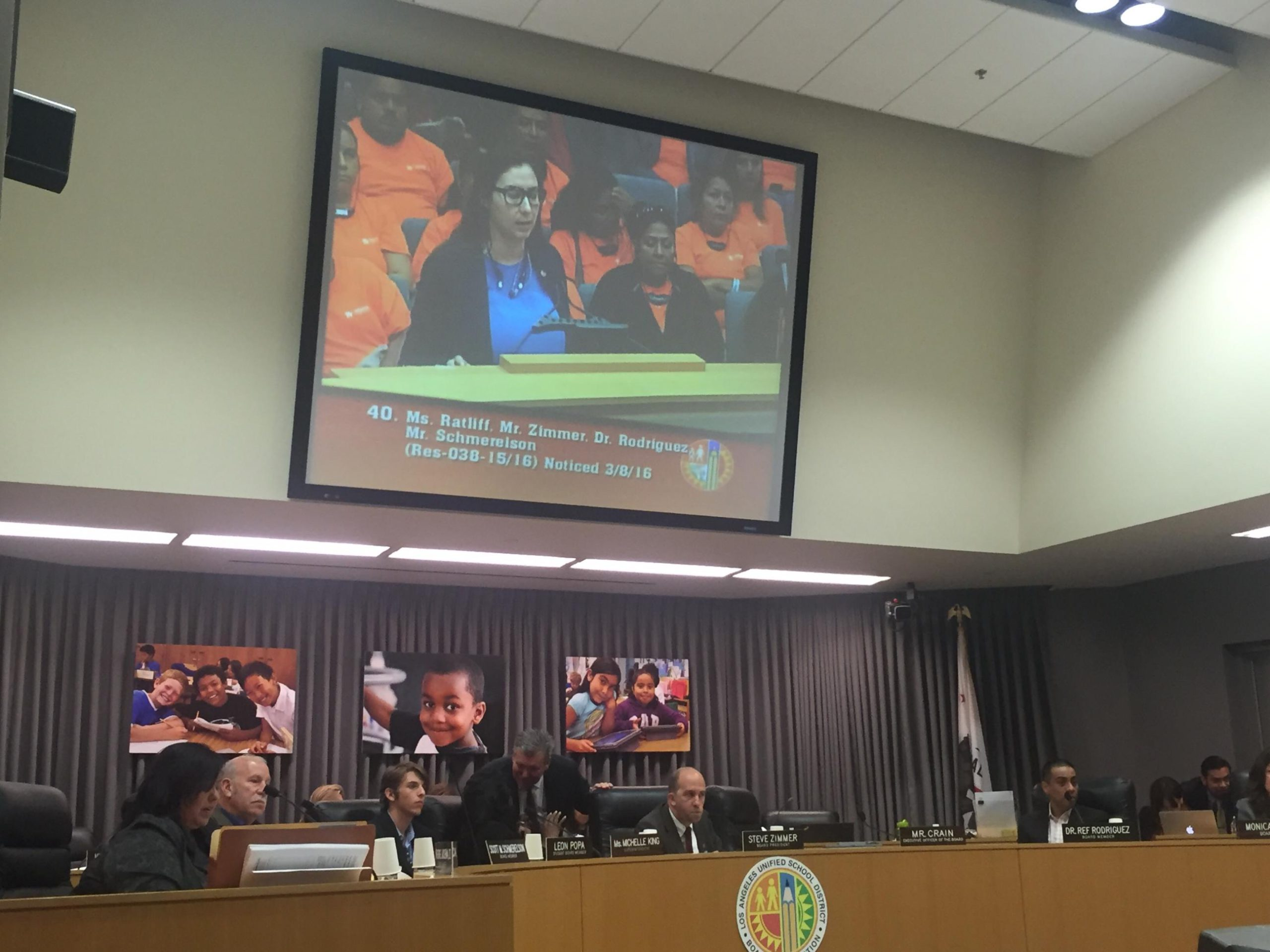 ANCA-WR Government Affairs Director Tereza Yerimyan speaking at Los Angeles Unified School District Board of Education