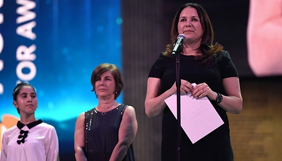 Rukmini Callimachi, the laureate of the inaugural ICFJ Integrity in Journalism Award in partnership with the Aurora Prize (Photo: Aurora Prize)