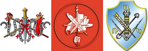 From left, the emblems of the the Social Democratic Hunchakaian Party, the Armenian Revolutionary Federation and the Ramakavar Azatakan Party