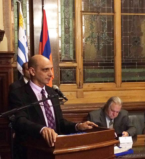 Uruguayan Parliament Member Daniel Radio during the Armenian Genocide commemoration in Montevideo