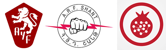 """From left the emblems of AYF, ARF """"Shant"""" and All-ASA"""