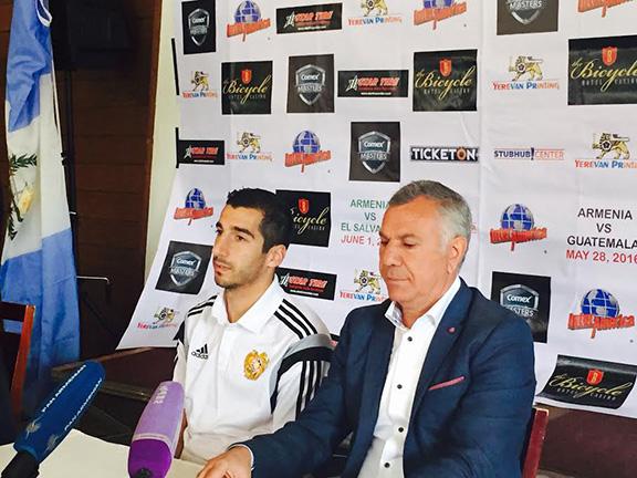 Armenian National Football team coach Varujhan Sukiasyan and star football player Henrikh Mkhitaryan