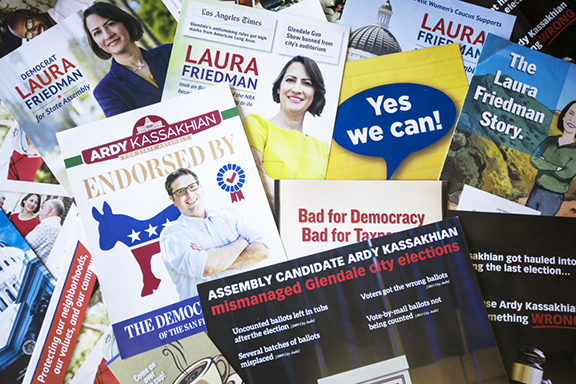 Negative campaign literature making the rounds in the 43rd Assembly race (Graphic by KPCC)