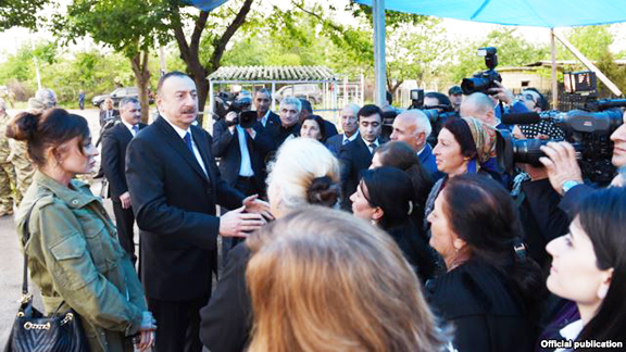 Azerbaijan President Ilham Aliyev meets with residents of the Terter district. (Source: RFE-RL)