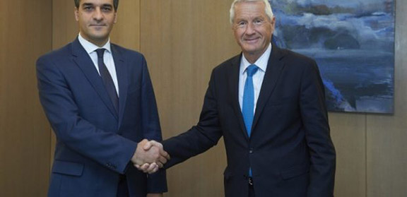 Human Rights Defender of the Republic of Armenia, Arman Tatoyan,and Secretary General of the Council of Europe, Thorbjørn Jagland