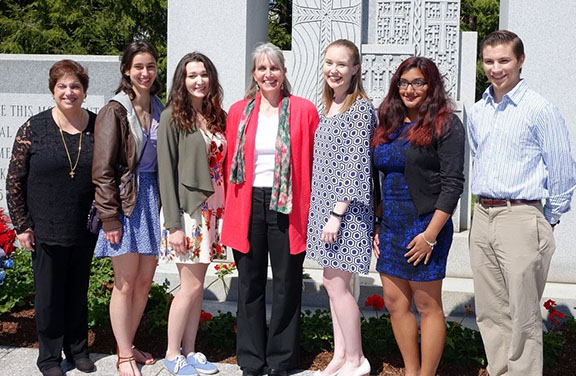Left to right: GenEd Rhode Island branch co-chair, Pauline Getzoyan, URI students Shay Spacco, Briana Clift, Prof. Catherine Sama, URI students Elizabeth Daley, ReenMarie Varkey, Drew Lachapelle  (Photo Credit: GVK Images)