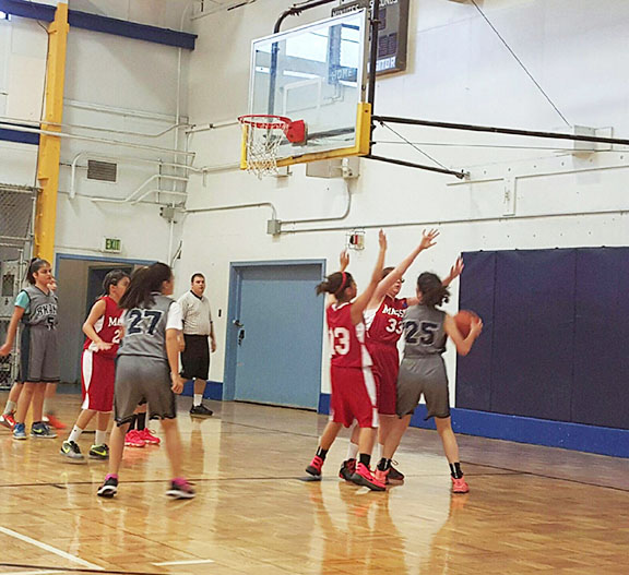 The Homenetmen Shant and Massis girls basketball teams compete