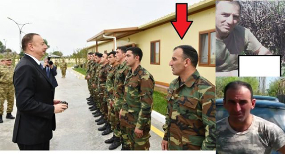 The red arrow points to the officer who decapitated Artsakh soldier Kyaram Sloyan