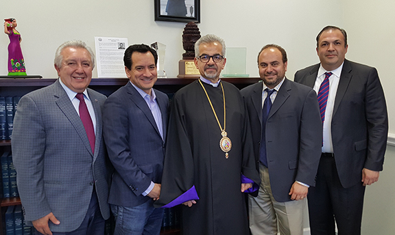 Armenian American Museum representatives discuss funding with Assembly Speaker Rendon and Assemblymember Nazarian. Left to Right:  Berdj Karapetian, Speaker Anthony Rendon, Archbishop Mardirossian, Assemblymember Nazarian, and Arthur Charchian
