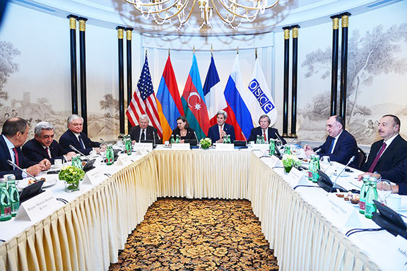 A scene from talks held in Vienna on Monday over the Karabakh conflict initiated by Secretary of State John Kerry