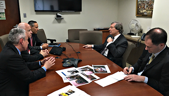 Chairmen of the Eastern and Western U.S. Central Committees of the Armenian Revolutionary Federation, Dr. Hayg Oshagan and Daron Der-Khachadourian and ANCA Chairman Raffi Hamparian meeting with OSCE Minsk Group Co-Chair Amb. James Warlick and State Department Armenia Desk Officer Ted Massey.