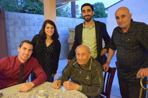 Clockwise from seated: Aleksan Markaryan, Aleksan Giragosian, Carla Garapedian, Manuk Avedikian, Agop Margarian (Photo: USC Shoah Foundation)