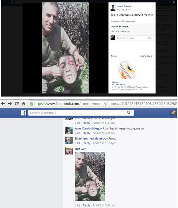 Images are what are believed to be Kyaram Sloyan's head being paraded on social media in Azerbaijan