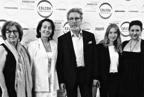 Robert Guédiguian and organizers screening of his movie at the Colcoa French Film Festival in Hollywood, California.
