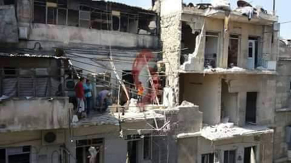 Armenian retirement home shelled in Aleppo, killing one. (Photo: Katsasar)