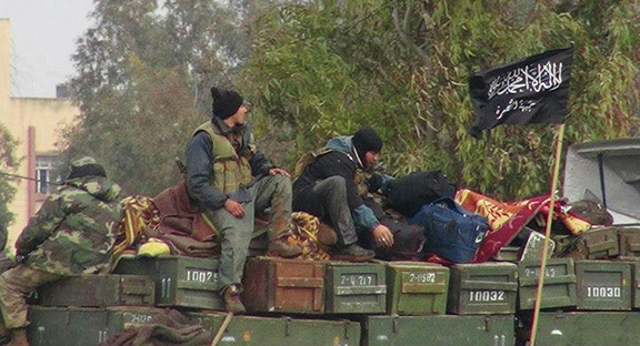 Terrorist group Al-Nusra Front is receiving daily arms shipments across the border from Turkey. (Source: AP Photo/Edlib News Network)