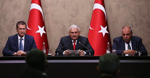 Turkish Prime Minister, Binali Yıldırım, at a press conference in Ankara (Source: Hurriyet Daily News)