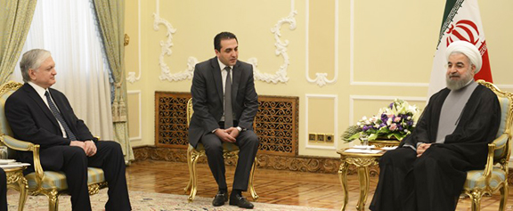 Armenian Foreign Minister Edward Nalbandian met with Iranian President Hassan Rouhani on June 5. (Source: RFE/RL)