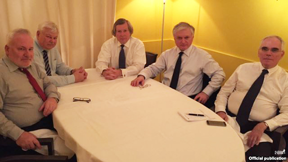 Armenian Foreign Minister Edward Nalbandian (second from right) meets with OSCE Minsk Group co-chairs in Paris on June 3 (Source: RFE/RL)