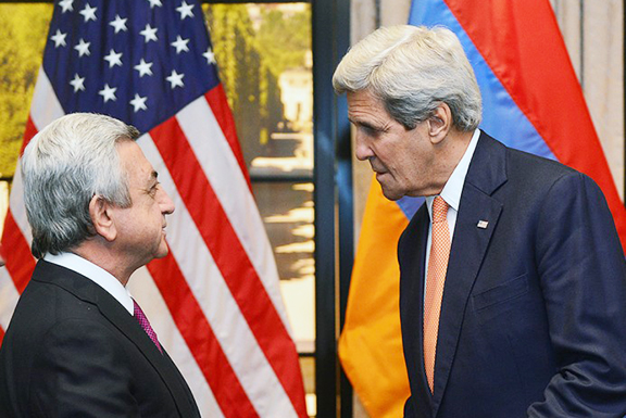 President Serzh Sarkisian meets with Secretary of State John Kerry in Washington in March