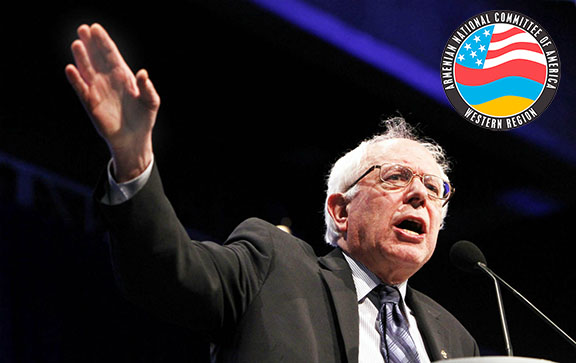 Senator Bernie Sanders endorsed by ANCA-WR for the upcoming Calif.  Primary