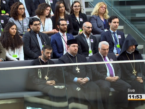 Armenian community leaders at the Bundestag during consideration of the Armenian Genocide Resolution