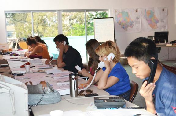 HyeVotes volunteers make phone calls to prospective voters