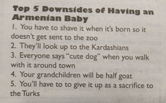 Hateful blurb about the Armenian people written in The Koala, a student-funded satirical paper at UCSD.