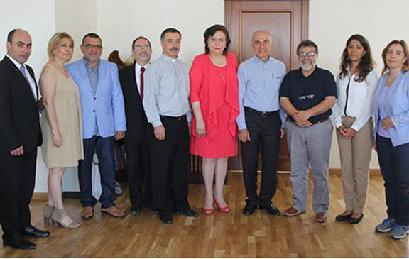 Rev. Kirkor Ağabaloğlu, Pastor of the Armenian Evangelical Church of Gedik Pasa, Istanbul and a  delegation comprised of members of the Committee for the Construction and Rehabilitation of Istanbul's Camp Armen meet with RA Minister of Diaspora, Hranush Hakobyan