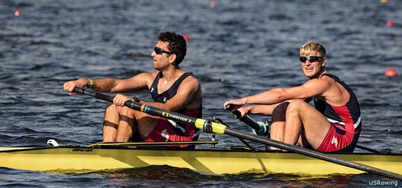 Nareg Guregian and Anders Weiss qualified for the Rio 2016 Olympic Games in the men's pair on June 22, 2016 in West Windsor, N.J., rounding out 41-member U.S. Olympic Rowing Team. (Photo: US Rowing)