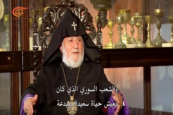 His Holiness Karekin II interviewing with Pan Arab Al Maydeen News Channel on July 4 (Photo: Youtube Screenshot, Al Mayadeen Programs)